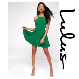 Lulu's Green Call to Charms Skater Dress Sz XS